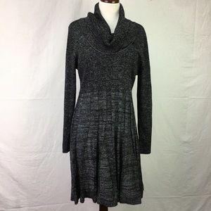 Calvin Klein Black Metallic Cowl Sweater Dress